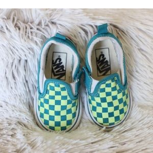 Toddler Turquoise and neon green checkered Vans